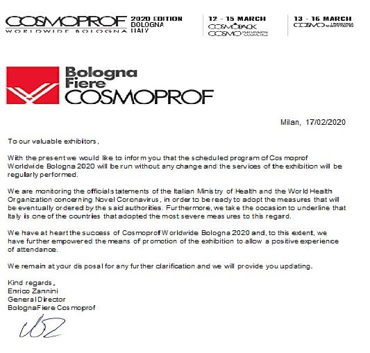 2020_02_17 OFICJALNY LIST OD ORGANIZATORA TARGÓW COSMOPROF BOLONIA